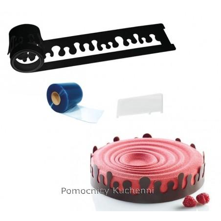 Forma silikonowa szablon do czekolady krople +folia 10m +skrobka fuoco Silikomart professional