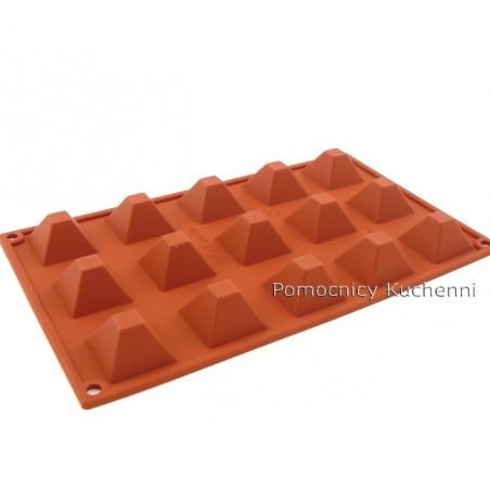 Forma silikonowa na babeczki piramidy małe 15 gniazd o poj. 20 ml SILIKOMART SF008