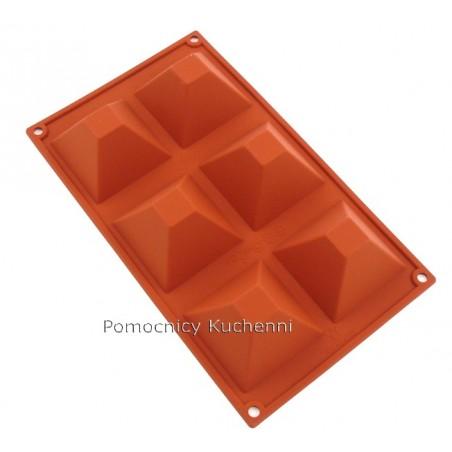 Forma silikonowa na babeczki piramidy 6 gniazd 90 ml SILIKOMART SF007