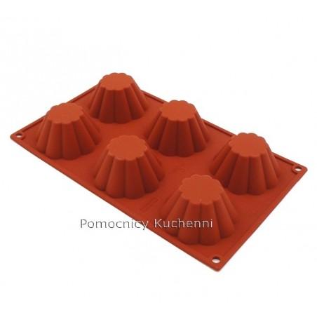 Forma silikonowa na babeczki BRIOSZKI stożkowe - 6 gniazd o poj. 110 ml SILIKOMART SF034