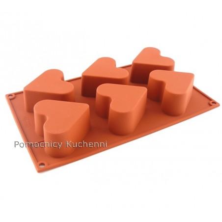 Forma silikonowa na babeczki serca 6 gniazd o poj 130 ml Silikomart SF036