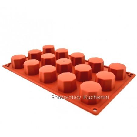 Forma silikonowa na ciasteczka OŚMIOKĄTY 15 gniazd o poj. 30 ml SILIKOMART SF037