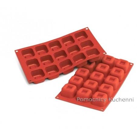 Forma silikonowa kwadraty savarin 15 gniazd o poj. 45 ml SILIKOMART SF081