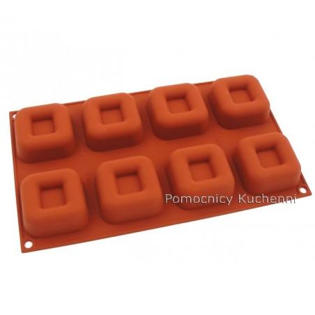 Forma silikonowa kwadraty savarin 8 gniazd o poj. 73 ml SILIKOMART SF082