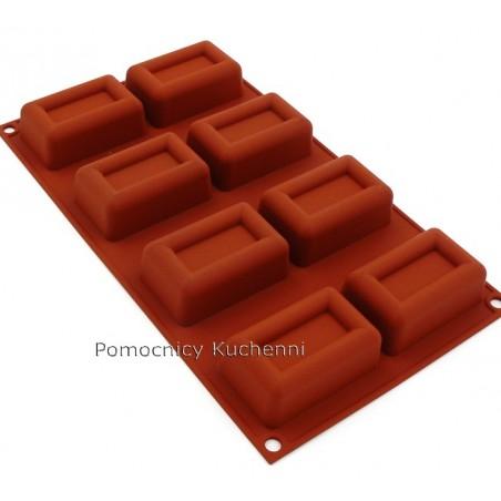 Forma silikonowa duże prostokąty savarin 8 gniazd poj. 72 ml SILIKOMART SF090