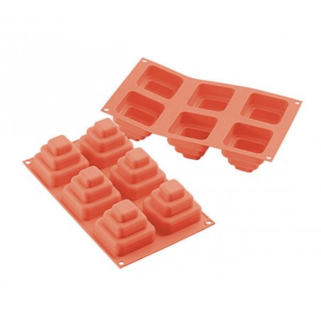 Forma silikonowa na małe torciki kwadratowe 6 gniazd o poj 170 ml SF168 Silikomart