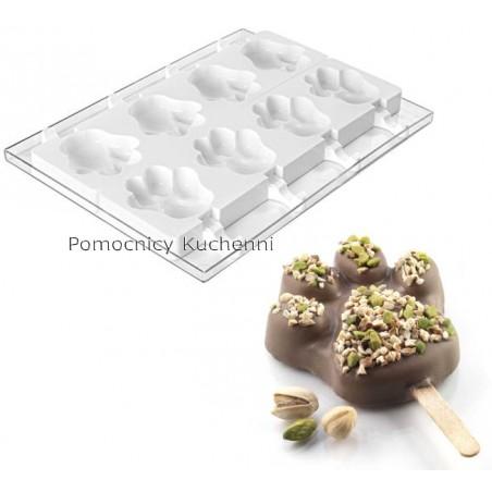 Forma silikonowa do lodów na patyku z tacą i patyczkami, łapa GEL06 SILIKOMART PROFESSIONAL