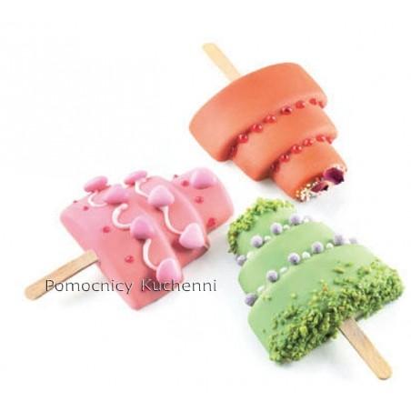 Forma silikonowa do lodów na patyku z taca i patyczkami torcik gel09 Silikomart Professional