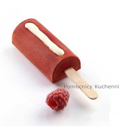 Forma silikonowa do mini lodów na patyku z tacą i patyczkami, półwalec GEL05M Mini SILIKOMART PROFESSIONAL