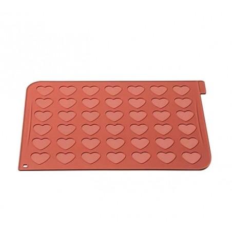 Mata silikonowa do makaroników serca 48 gniazd o śr 4cm Silikomart Professional mac03