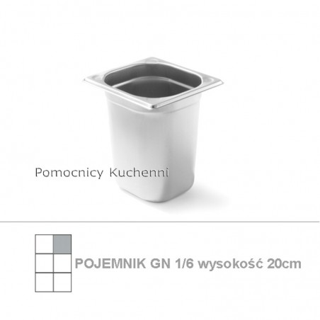 Pojemnik GN 1/6 poj.3,4l - 17,6x16,2cm wys. 20cm , wzmocniony KITCHEN LINE HENDI 806654