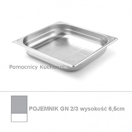 Pojemnik perforowany GN 2/3 poj.5,5 l - 35,4x32,5cm wys. 6,5cm - wzmocniony KITCHEN LINE HENDI 807224