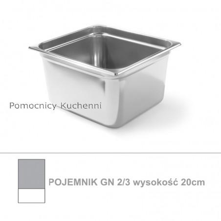 Pojemnik GN 2/3 poj. 18l - 35,4x32,5cm wys. 20cm, stal nierdzewna 18/10 PROFI LINE HENDI 801307