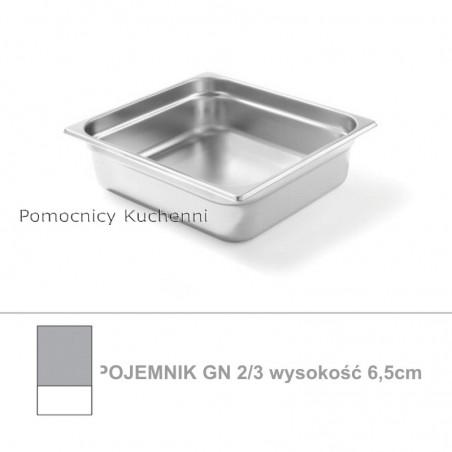 Pojemnik GN 2/3 poj. 5,5l - 35,4x32,5cm wys. 6,5cm, stal nierdzewna 18/10 PROFI LINE HENDI 801338