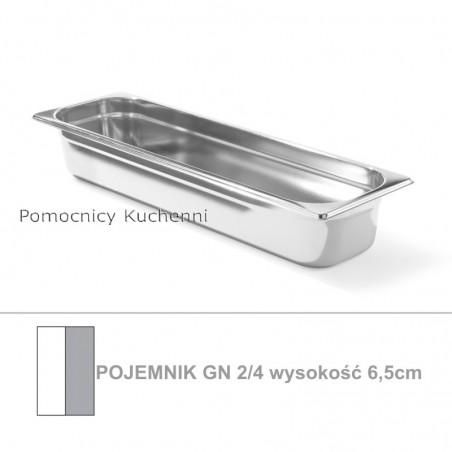 Pojemnik GN 2/4 poj. 4l - 53x16,2cm wys. 6,5cm, stal nierdzewna 18/10 PROFI LINE HENDI 801857