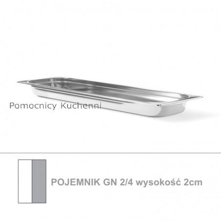 Pojemnik GN 2/4 poj. 1,2l - 53x16,2cm wys. 2cm, stal nierdzewna 18/10 PROFI LINE HENDI 801871