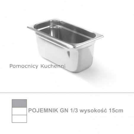 Pojemnik GN 1/3 poj. 5,7l - 32,5x17,6cm wys. 15cm, stal nierdzewna 18/10 PROFI LINE HENDI 801512