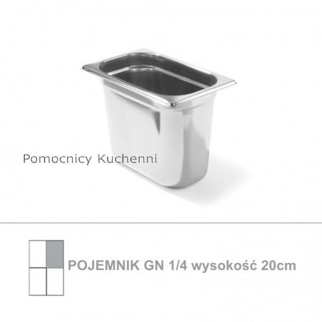 Pojemnik GN 1/4 poj. 5,5l - 26,5x16,2cm wys. 20cm, stal nierdzewna 18/10 PROFI LINE HENDI 801604