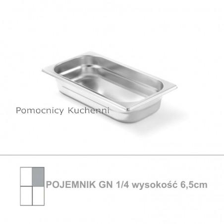 Pojemnik GN 1/4 poj. 1,8l - 26,5x16,2cm wys. 6,5cm, stal nierdzewna 18/10 PROFI LINE HENDI 801635