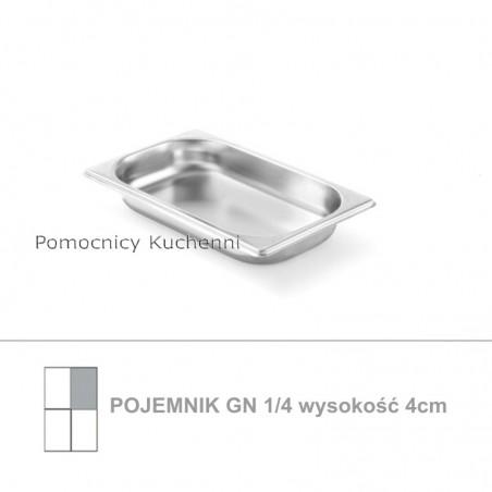 Pojemnik GN 1/4 poj. 1,7l - 26,5x16,2cm wys. 4cm, stal nierdzewna 18/10 PROFI LINE HENDI 801642