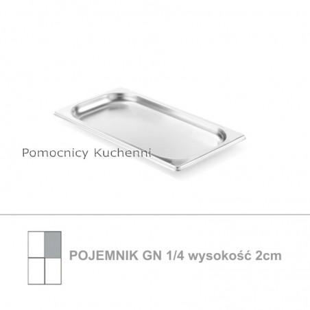 Pojemnik GN 1/4 poj. 0,9l - 26,5x16,2cm wys. 2cm, stal nierdzewna 18/10 PROFI LINE HENDI 801659