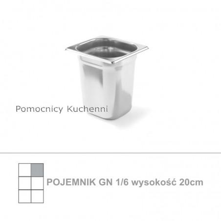 Pojemnik GN 1/6 poj. 3,4l - 17,6x16,2cm wys. 20cm, stal nierdzewna 18/10 PROFI LINE HENDI 801703
