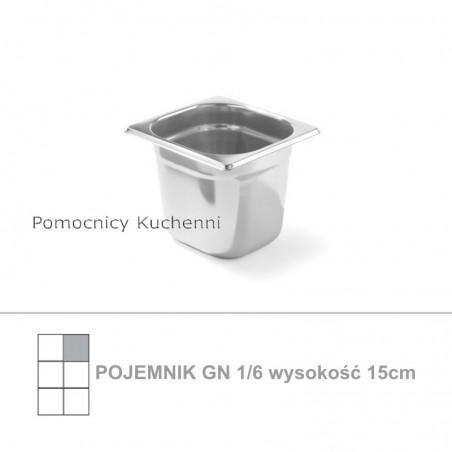 Pojemnik GN 1/6 poj. 2,4l - 17,6x16,2cm wys. 15cm, stal nierdzewna 18/10 PROFI LINE HENDI 801710