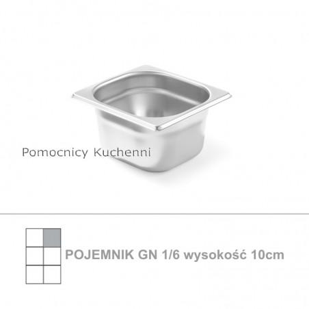 Pojemnik GN 1/6 poj. 1,6l - 17,6x16,2cm wys. 10cm, stal nierdzewna 18/10 PROFI LINE HENDI 801727