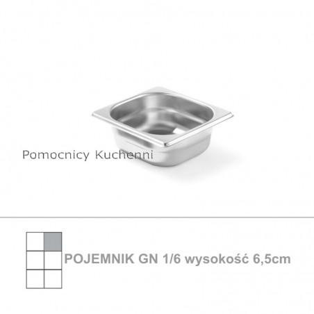 Pojemnik GN 1/6 poj. 1l - 17,6x16,2cm wys. 6,5cm, stal nierdzewna 18/10 PROFI LINE HENDI 801734