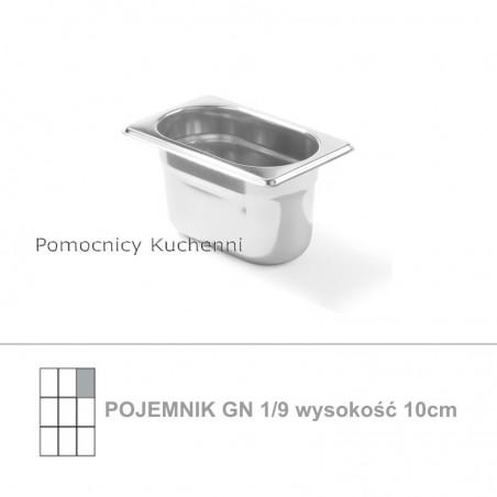 Pojemnik GN 1/9 poj. 1l - 17,6x10,8cm wys. 10cm, stal nierdzewna 18/10 PROFI LINE HENDI 801826