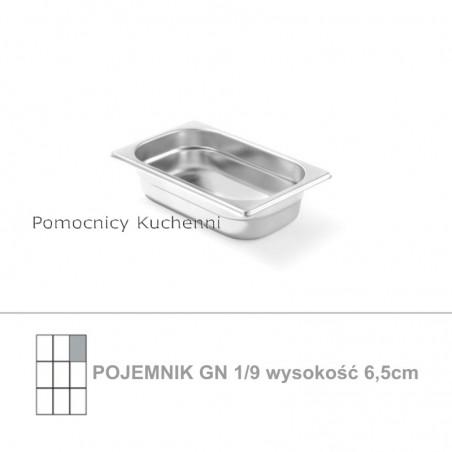 Pojemnik GN 1/9 poj. 0,6l - 17,6x10,8cm wys. 6,5cm, stal nierdzewna 18/10 PROFI LINE HENDI 801833