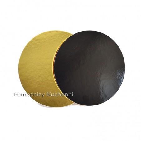 Podkład pod tort bardzo sztywny śr. 26 cm / 3,5mm Dwustronny złoto czarny