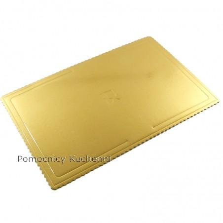 Podkład pod tort z grubej tektury złoty 66x46 cm/ 4mm
