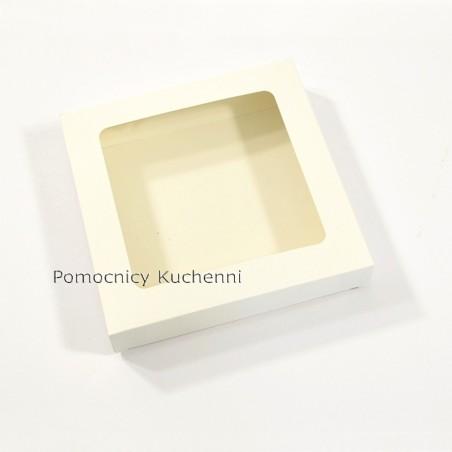 Pudełko na ciasteczka z okienkiem, 15x15cm wys. 2,5cm kartonik na pierniczki BIAŁE