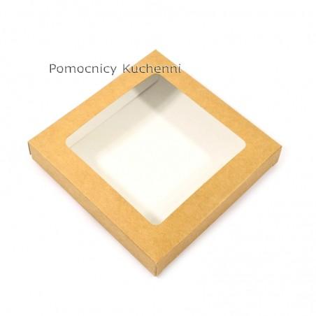 Pudełko na ciasteczka z okienkiem, 15x15cm wys. 2,5cm kartonik na pierniczki BRĄZOWY EKO