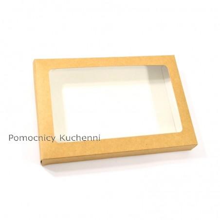 Pudełko na ciasteczka z okienkiem, kartonik na pierniczki 15x21cm wys. 2,5cm EKO