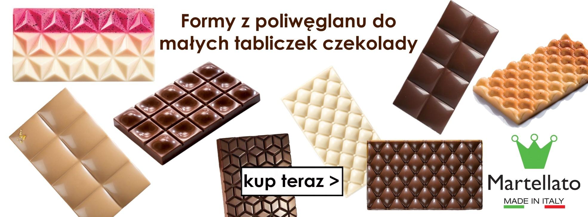 Formy z tworzywa do małych tabliczek czekolady marki Martellato